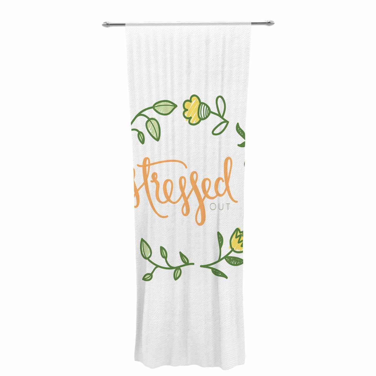 30 x 84 Sheer Curtains Kess InHouse Busy Bree Stressed Out Green Floral Decorative Set