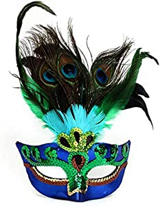 BLUE GARLIC Womens Peacock Feather Mask for Masquerade Costume Party Halloween Cosplay Accessory