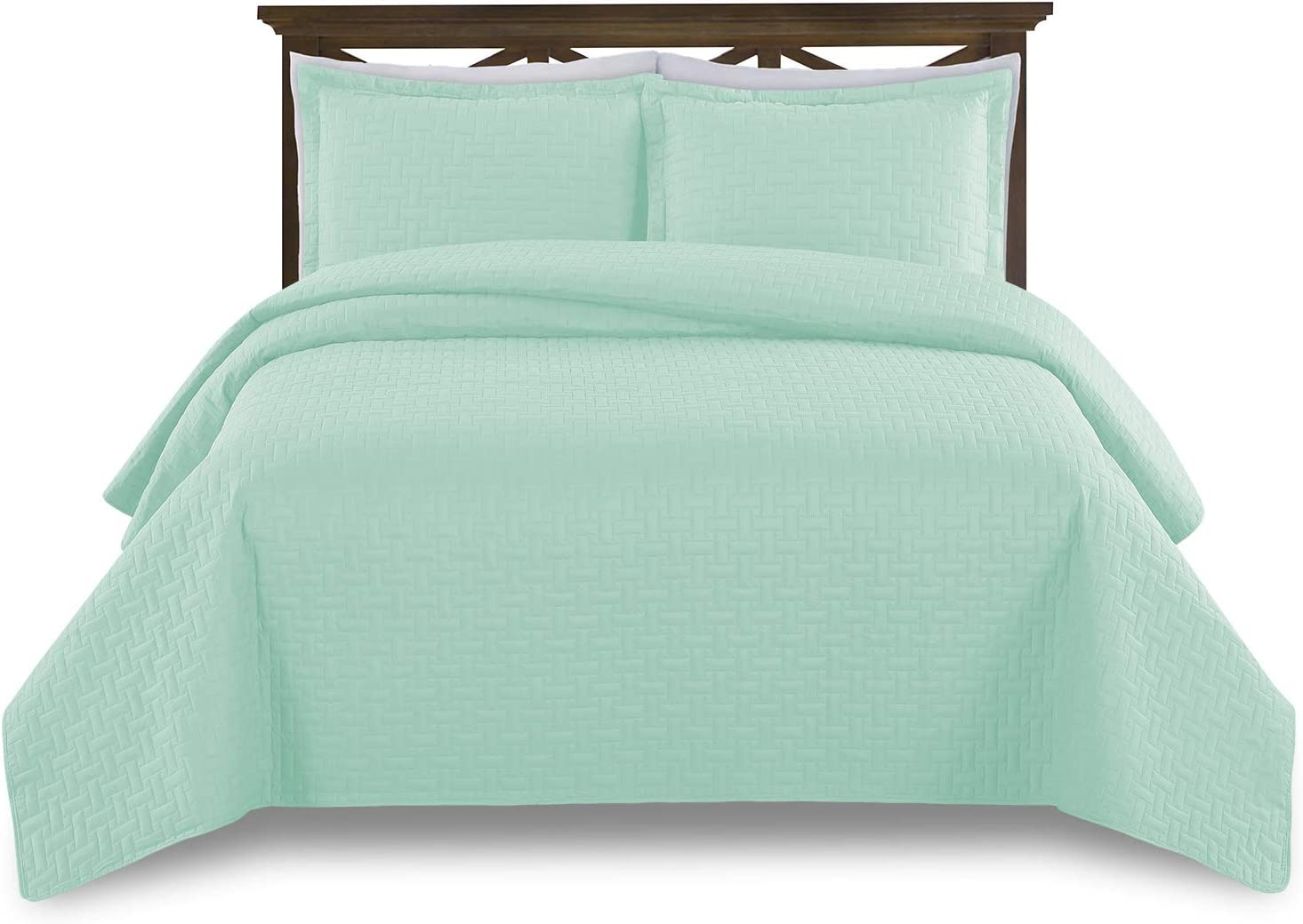 Comfy Basics Prime Bedding Manchester 3-piece Oversized Quilted Bedspread Coverlet Set (Mint, Queen)