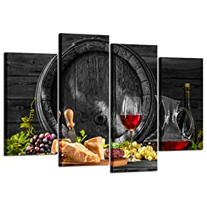 Kreative Arts - 4 Pieces Red Wine and Fruits with Glass and Wood Barrel Canvas Prints Wall Art Painting Food Pictures Art Work for Kitchen Walls Home Modern Decoration Ready to Hang L47xH32