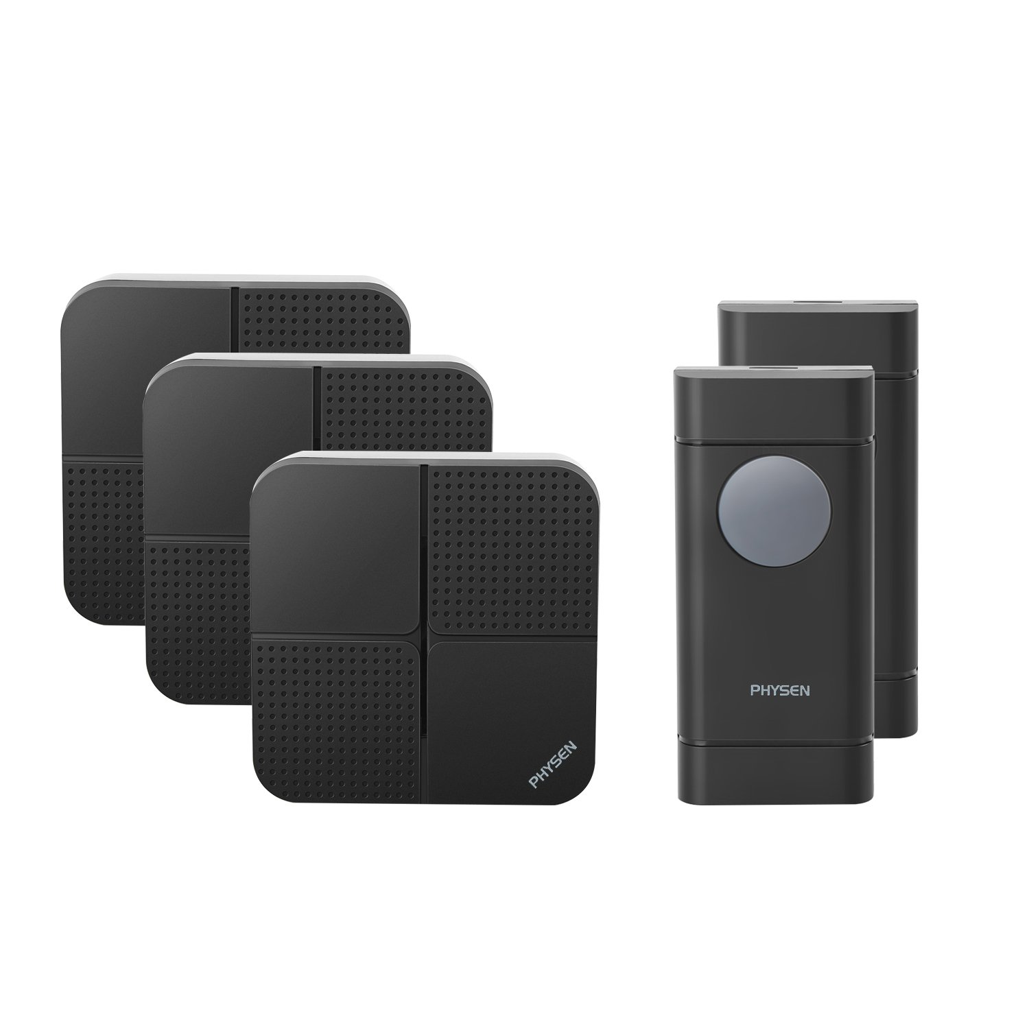 Physen Model X5 Waterproof Wireless Doorbells with 2 Push Button and 3 Plugin Receiver,Operating Range at 900 Feet,4 Adjustable Volume Levels and 52 Chimes,No Battery Required for Receiver,Black