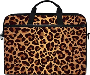 KUWT Laptop Case Animal Leopard Print Laptop Shoulder Messenger Bag Case Sleeve Crossbody Briefcase with Strap Handle for Notebook Computer