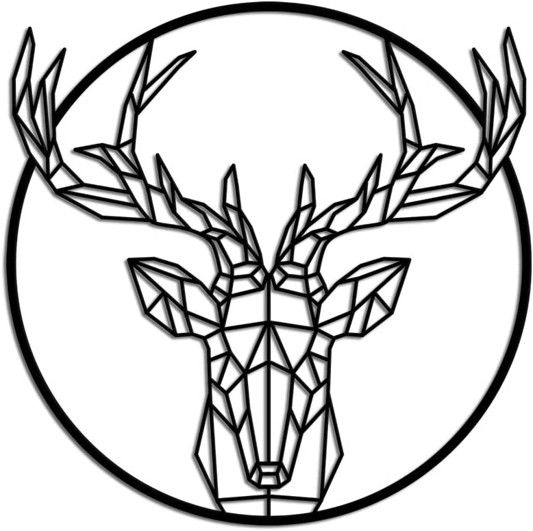 KLVOS Deer Elk Metal Wall Art Geometrical Antique Deer Antler Sculpture Wall Decor Animal Head Statue Wall Hanging for Home Office Living Room Bed Room Lazer Cut Large Ready to Hang 24x24inch