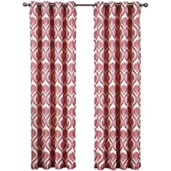 "sheetsnthings Set of 2 Panels 108"" Wx96 L -Royal Tradition - Jacqueline -Poppy - Jacquard Grommet Window Curtain Panels, 54-Inch by 96-Inch each Panel. Package contains set of 2 panels 96 inch long."