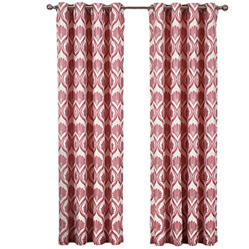 """sheetsnthings Set of 2 Panels 108"""" Wx96 L -Royal Tradition - Jacqueline -Poppy - Jacquard Grommet Window Curtain Panels, 54-Inch by 96-Inch each Panel. Package contains set of 2 panels 96 inch long."""
