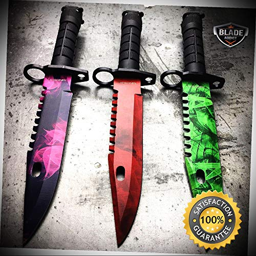 - 3 PC 13'' CS GO Fixed Blade Hunting Knife Bayonet Bowie Emerald SET NEW - Outdoor For Camping Hunting