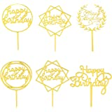 Tomaibaby 12pcs Happy Birthday Cake Toppers Funny Cupcake Toppers Dessert Cake Picks for Birthday Holiday Party Golden