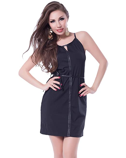 89560e9398226a N-Gal Women s Stunning Leather Tie Look Waist Keyhole Neck Sleeveless Club  Mini Dresses