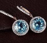 Solid 14K Rose Gold London Blue Topaz Women's Diamond Dangle Earrings