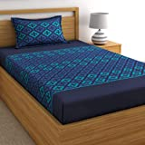 Home Ecstasy 100% Cotton bedsheets Single Bed Cotton Set with 1 Pillow Cover, 140tc Ethnic Blue Single Bed Sheet Cotton (Size 4.8ft x 7.3ft)