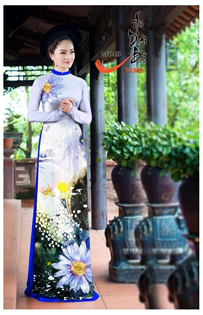 Silk 3D ADVN1368 Traditional Vietnamese Long Dress Collections with Pants Ao Dai