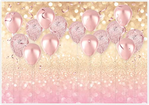 Amazon Com Allenjoy 7x5ft Durable Soft Fabric Rose Gold Party Decorations Supplies Pink Balloon Glittter Bokeh Photo Backdrop Birthday For Girl Baby Bridal Shower Bachelorette Photography Background Studio Props Camera