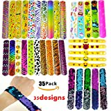 Slap Bracelets, 35 PCS Birthday Party Favors Gifts (25 Designs Slap Bracelets + 5 Reversible Sequin Mermaid Bracelets + 5 Silicone Emoji Bracelets), Charming Wristband for Kids and Adults.