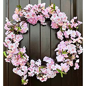 """Handmade Pink Cherry Blossom Wreath in 20-22"""" Diameter for Spring and Summer Door Decor 84"""