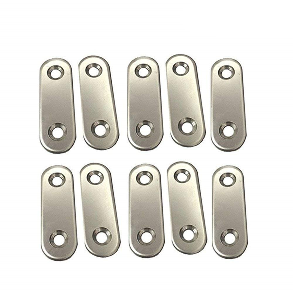 AOWISH Flat Corner Brace, 2 Holes Stainless Steel Metal Joining Plate (Pack Of 10,Silver)