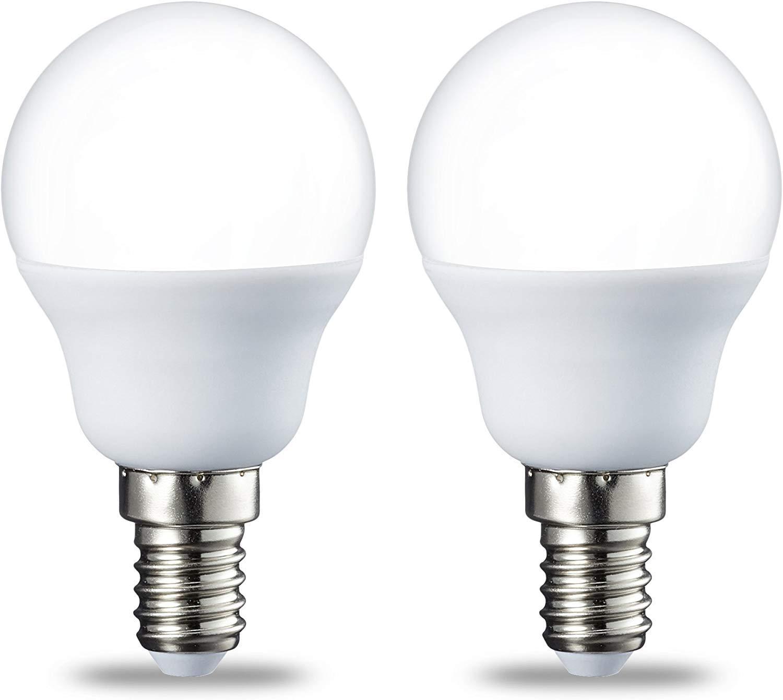 Amazon Basics LED E14 Small Edison Screw Golf Ball P45 Bulb, 5.5W (equivalent to 40W), Warm White- Pack of 2