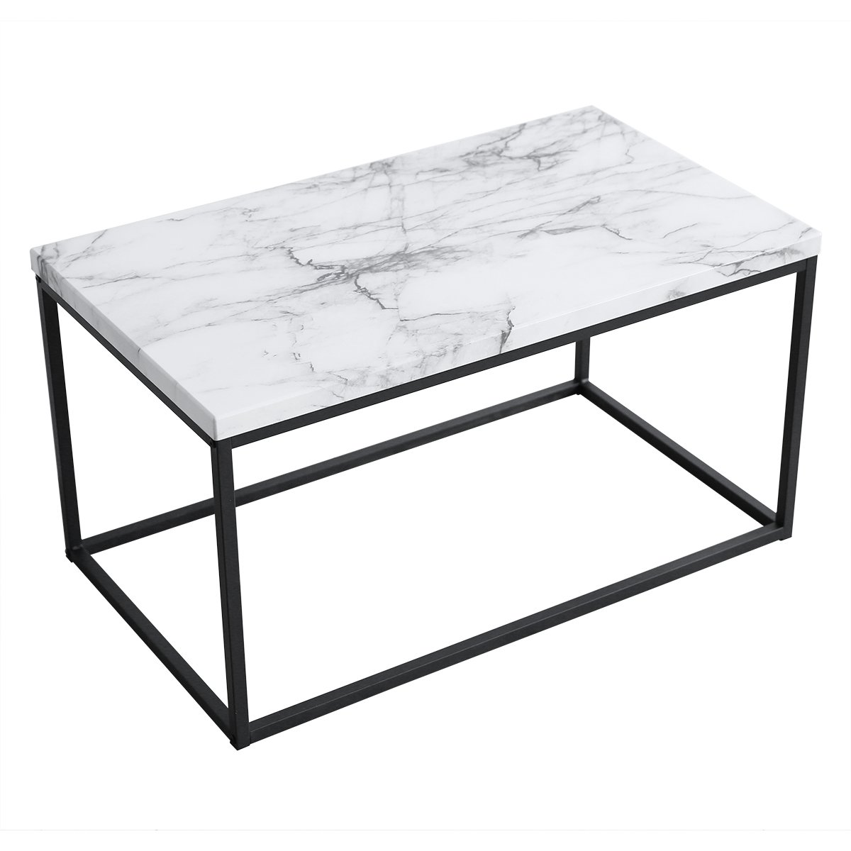 Roomfitters White Marble Print Coffee Table, Upgraded Water Resistant Version, Accent Rectangular Cocktail Table with Black Metal Box Frame by Roomfitters