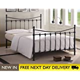 Time Living FLO5BK Florida 5ft King Size Black Metal Bed Bed Frame Only