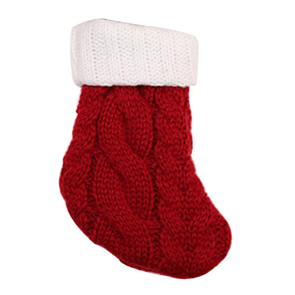 Ameesi Christmas Knit Sock Cutlery Holder Utensil Bag Fork Spoon Knife Pocket Decor