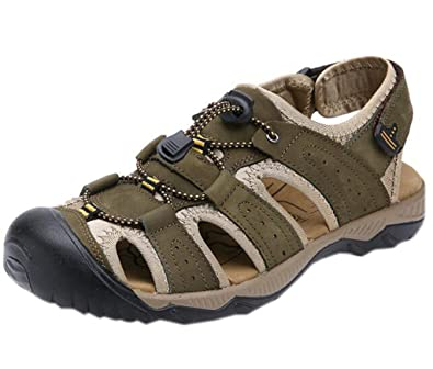 Men's Summer Leather Closed-Toe Adjustable Straps Outdoor Athletic Sandals