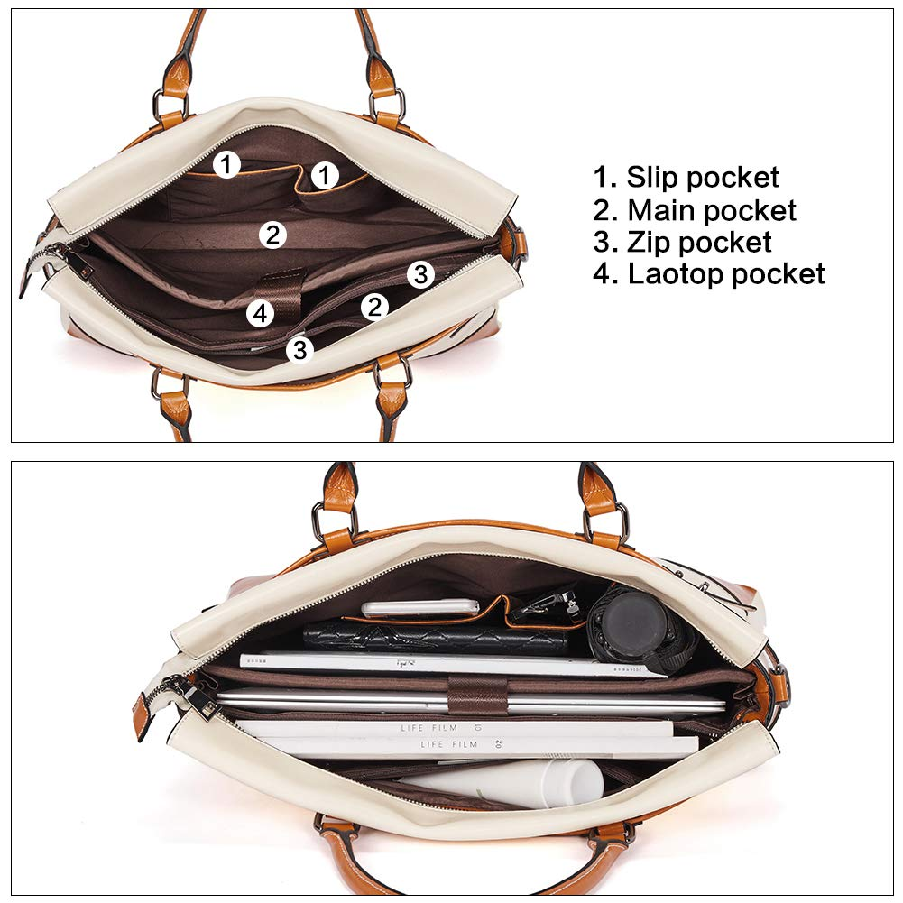 BOSTANTEN Leather Briefcase Messenger Satchel Bags Laptop Handbags for Women by BOSTANTEN (Image #5)