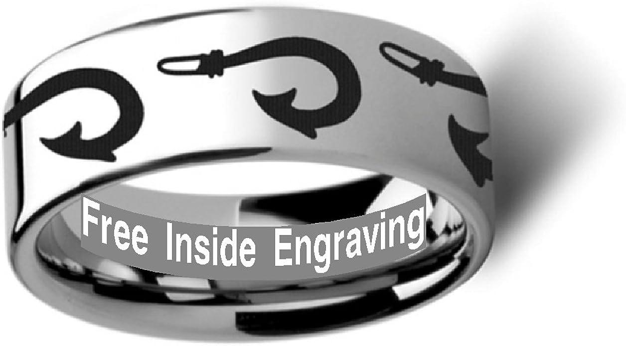 Thorsten Polynesian Fishing Hook Design Sport Fishing Print Pattern Flat Black Tungsten Ring 6mm Wide Wedding Band from Roy Rose Jewelry