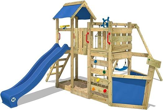 Aire de jeu pour enfants en bois avec échelle d/'escalade de corde et corde FR