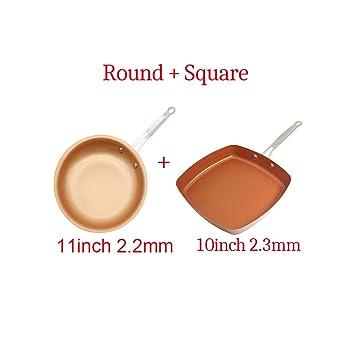 Sartén antiadherente de cobre, sartén de cerámica, inducción ...