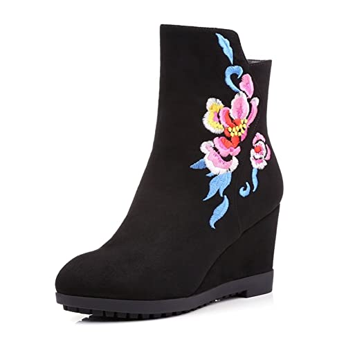 bordado corto botas/Cabeza redonda tacón mujer botas con bordados/Zapatos bordados-A