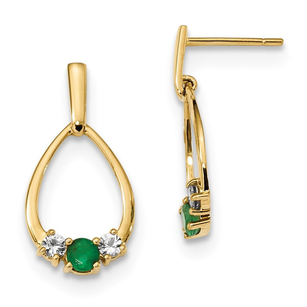 11.27mm 14k Gold With Emerald and White Emerald Post Dangle Earrings