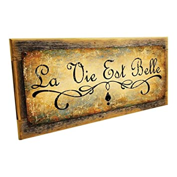 Amazon.com: La Vie Est Belle Cartel de metal para decoración ...