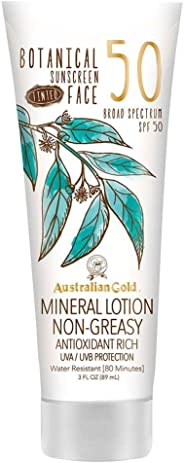 Australian Gold Botanical Sunscreen Tinted Face Mineral Lotion SPF 50, 3 Ounce   Broad Spectrum   Water Resistant