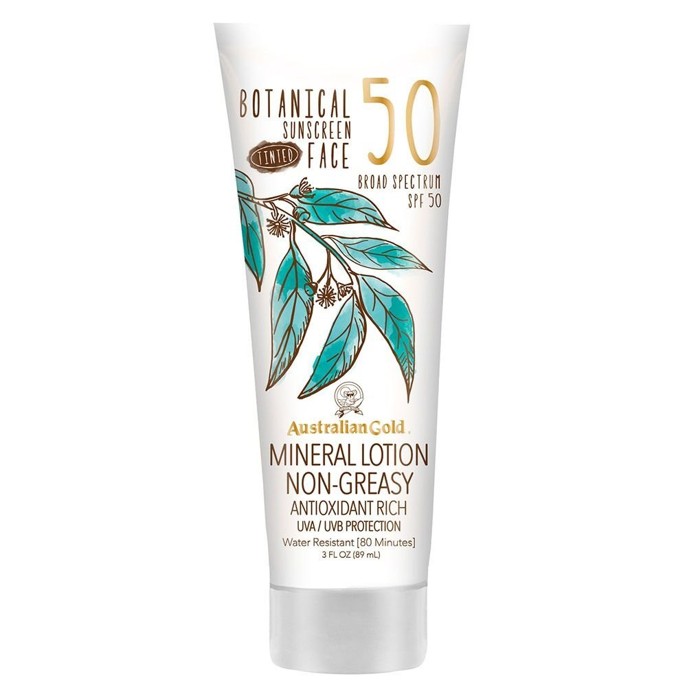 Australian Gold Botanical Sunscreen Tinted Face Mineral Lotion, Broad Spectrum, Water Resistant, SPF 50, 3 Ounce by Australian Gold