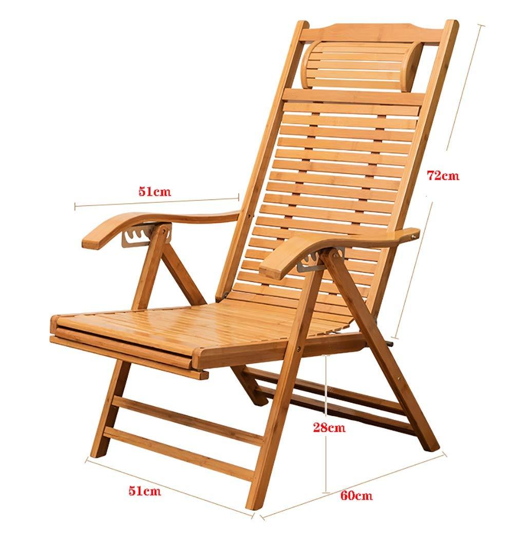 YWZDY Sillas Plegables de Tela Silla Mecedora reclinable de bamb/ú Ajustable Tumbona Plegable reclinable balc/ón reclinable terraza Exterior balc/ón Silla de jard/ín