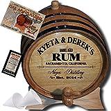 Personalized American Oak Aging Barrel - Design 060: Barrel Aged Rum (2 Liter)
