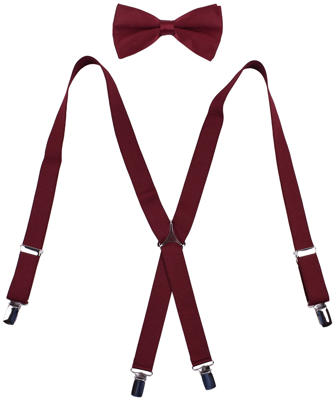 WDSKY Men's Bow Tie and Suspenders Set Adjustable X Back Burgundy