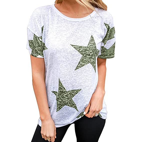 Camisas de Mujer, Dragon868 Estrellas Camiseta Cuello Redondo Casual Blusa Camisetas para jóvenes niñas (