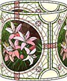 LampPix 10.5 Inch Custom Printed Table Desk Lamp Shade Stained Glass Style Pink Flower (Spider Fitting)