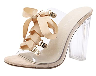 99f45511a487 SHOWHOW Women s Retro Clear Sandals - Block High Heels Lace Up - Slip on  Mules Shoes