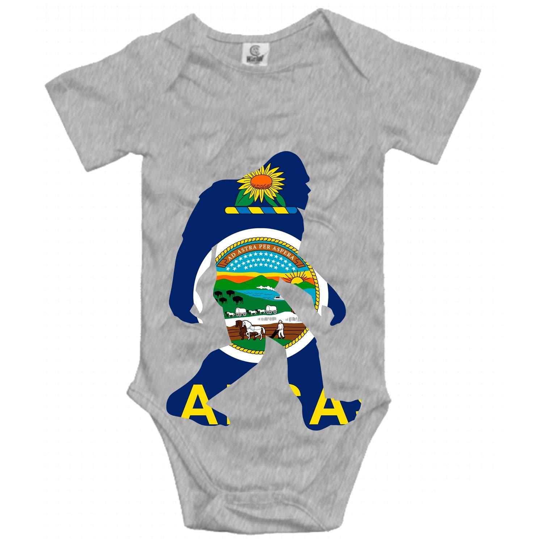 USA Kansas Flag Bigfoot Short Sleeve 100/% Cotton Infant Bodysuit