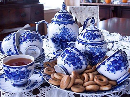 Liza 15-pc Gzhel Porcelain Tea Set 15-pc. for 6 persons