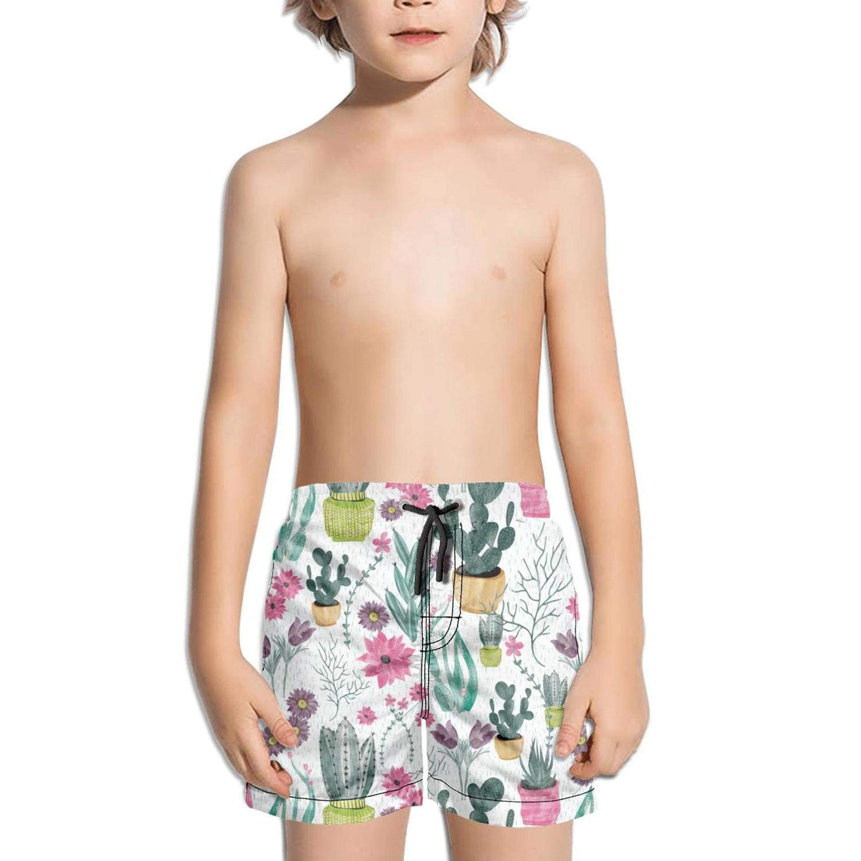 lidongsing Alpaca and Cactus Boys Fast Drying Beach Swim Trunks Sports Swim Board Shorts