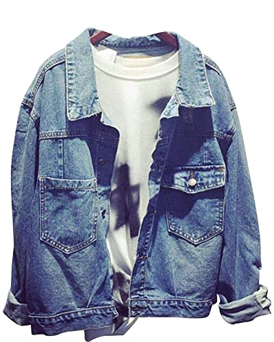 Chaqueta De Mezclilla Denim Jacket Suelto Manga Larga Para Mujer