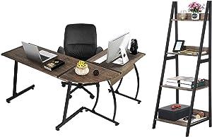 GreenForest L Shaped Desk and Ladder Shelf Bundle, Home Office Writing Workstation 4-Tier Bookshelf and Corner Computer Desk, Walnut