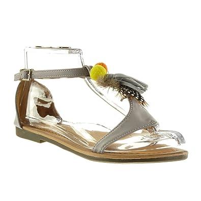 Damen Angkorly Bommel T Fransen Sandalen Schuhe Spange SzLMpVUjqG