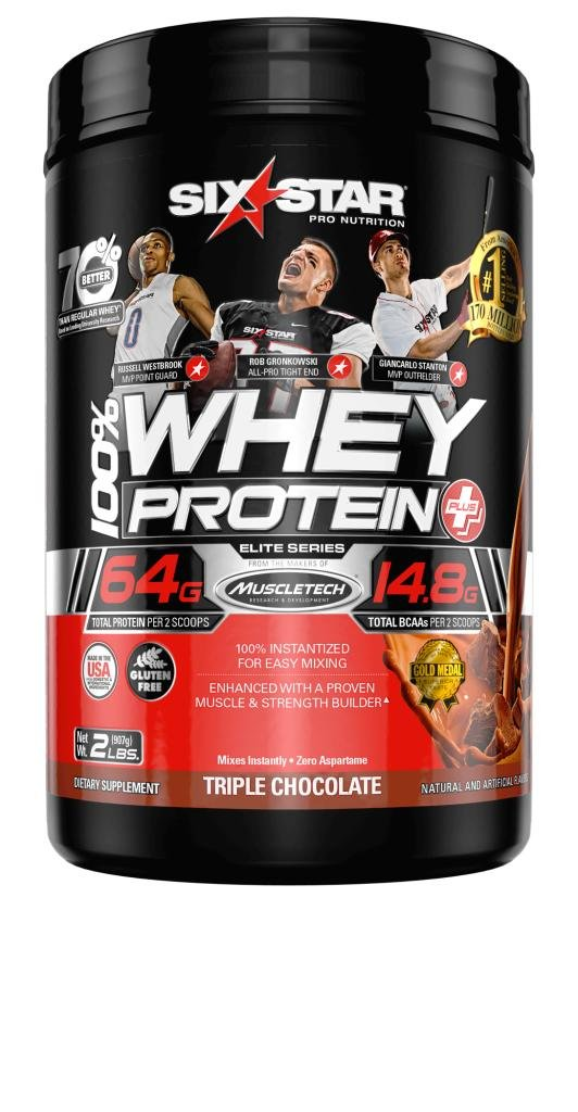 Six Star Pro Nutrition 100% Whey Protein Plus, 32g Ultra-Pure Whey Protein Powder, Triple Chocolate, 2 Pound (Packaging May Vary)