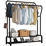 UDEAR Garment Rack Freestanding Hanger Double Rods Multi-Functional Bedroom Clothing Rack, Double Layer ,4 Hooks,Black