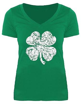 b3ca4a8f St Patricks Day Women Green Short Sleeve V Neck Top Irish Shamrock Funny  Tshirt Clover S