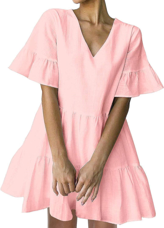 FANCYINN Women's Cute Shift Dress with Pockets Fully Lined Bell Sleeve Ruffle Hem V Neck Loose Swing Tunic Mini Dress