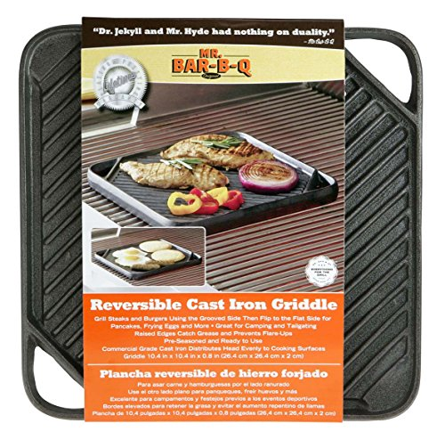 Mr.BarBQ 08102X Reversible Griddle, Cast Iron - Edge Marketing Pool